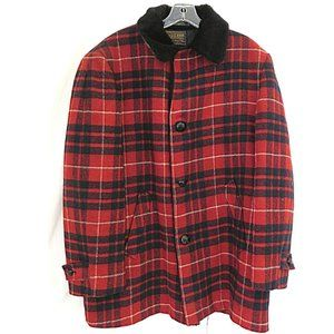 Men's Pendleton Red Black Plaid Full Town Coat 48